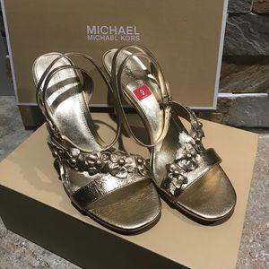 "NIB Michael Kors gold metallic ""Tricia"" sandals"